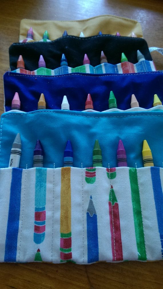 Crayon Roll with Crayons by NecasNicNacs on Etsy