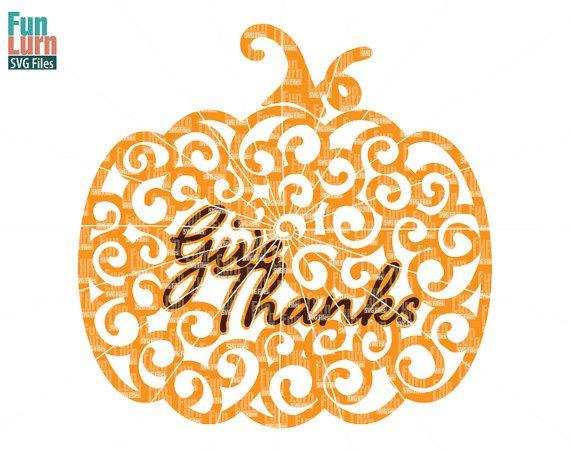 Thanksgiving SVG Zentangle Pumpkin SVGswirl Doodle by FunLurnSVG