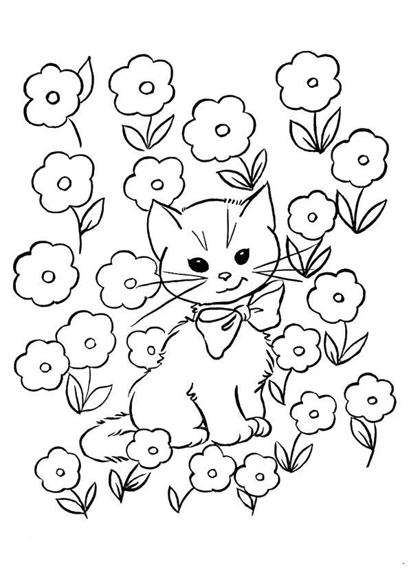 Kitten In Flowers Coloring Page Gambar