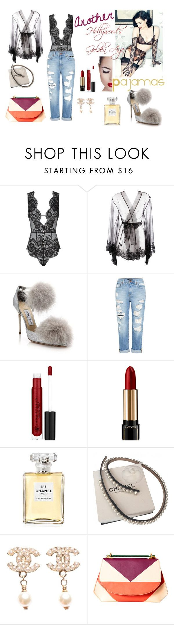 """Another ""Hollywood's Golden Age"""" by davidlorent ❤ liked on Polyvore featuring Agent Provocateur, I.D. SARRIERI, Jimmy Choo, Genetic Denim, Dita Von Teese, Anastasia Beverly Hills, Lancôme, Chanel, DESA and modern"