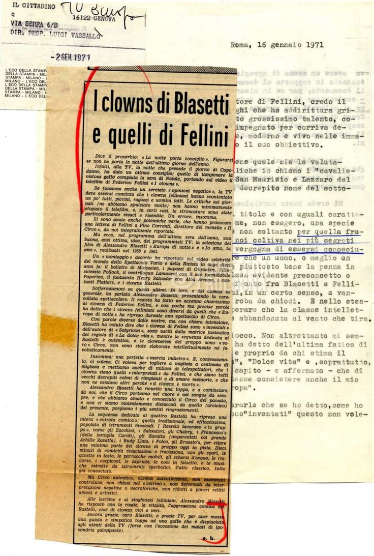 Ritaglio Storico del 1971 - Blasetti