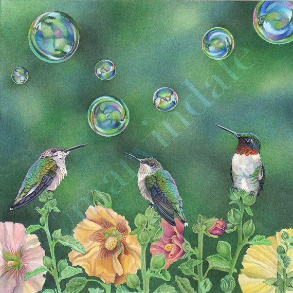 Bubble Birds (framed art print from watercolour of hummingbirds, hollyhocks and bubbles by Cori Lee Marvin)