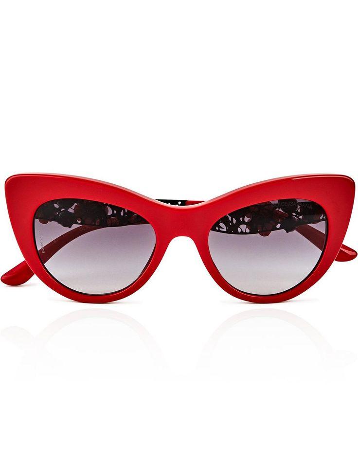 Embellished Cat Eye Sunglasses - Red