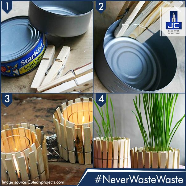 Utilize an empty cylindrical can and a few wooden cloth-clips to create an interesting looking plant holder without much hard work! #NeverWasteWaste and help the earth stay green!