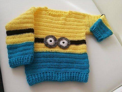 No 204 #Sweterek na szydełku dla chłopca 2-3 lata 10k- crochet cardigan for boy PART 2/2 - YouTube