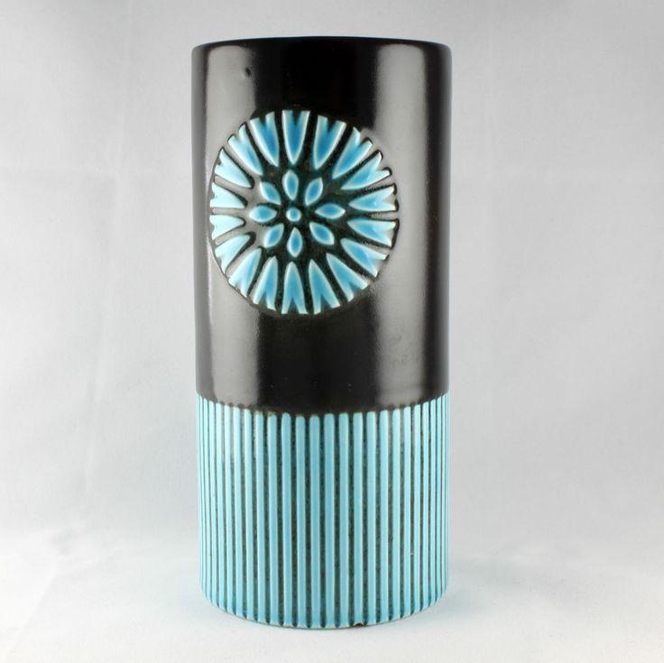 Vintage Retro Blue & Black Hornsea Pottery Impact Vase ca 1960s John Clappison