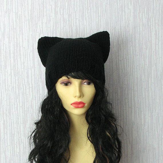 Cat hat Hand Knit Cat Ear Hat in Black  Cat by AlbadoFashion