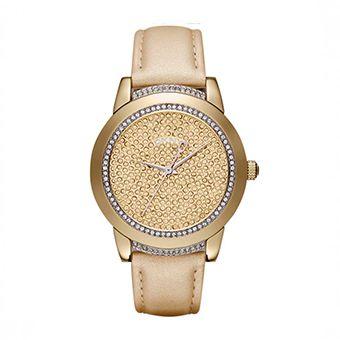 DKNY Crystals Gold Leather Strap NY8688