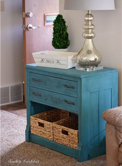 Teal Entryway Cabinet
