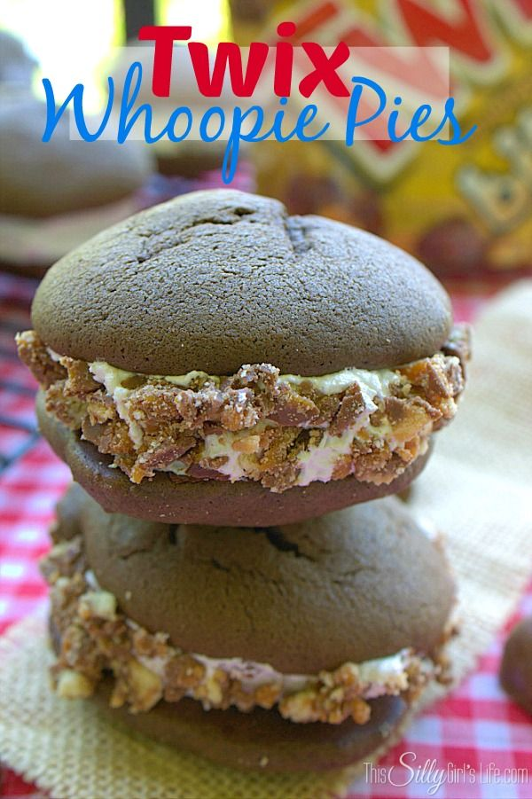 TWIX® Whoopie Pies, soft, cake like cookies filled with marshmallow fluff filling and rolled in TWIX® candy crumbs, yum!! #EatMoreBites #shop