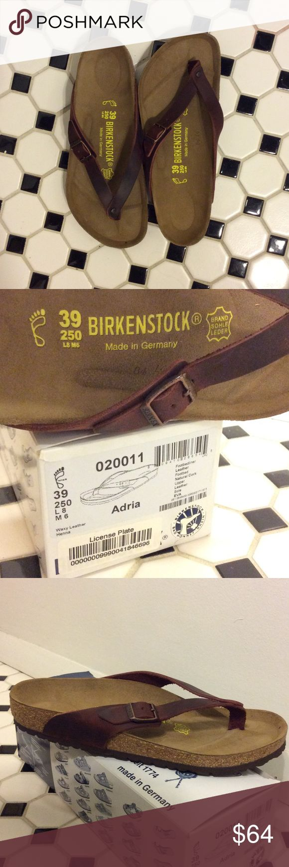 Birkenstock Adria Flip Flop Leather Sandal Birkenstock Adria Flip Flop Leather Sandal. Never worn, with box. Brown leather strap and cork footbed. US 8 (Euro 39) Birkenstock Shoes Sandals