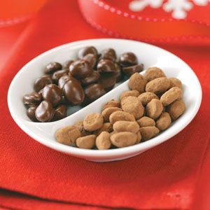 Chocolate Covered Coffee Beans!! Gilbert's Chocolates sells these and they are AWESOME! Just give you horrible coffee breath! Lol! I wanna try making them myself!