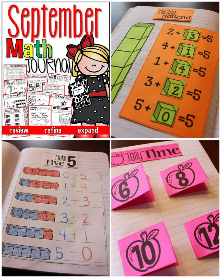 Keeping a math journal in kindergarten, first, and second grade. Tips for using a math journal during your math block. Example math journal activities.
