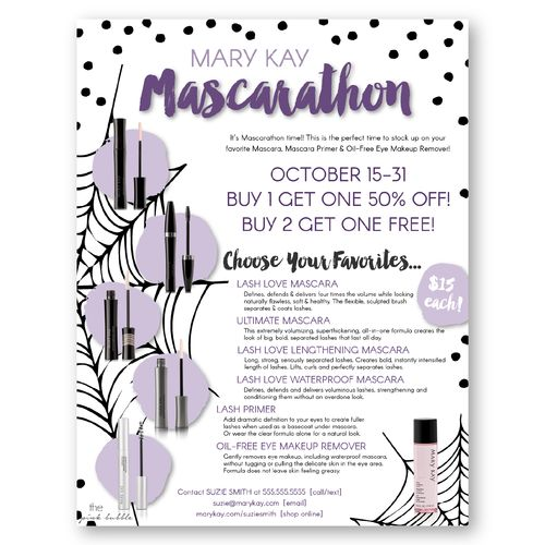 Hold a fun Mary Kay Mascarathon with this customizable flier! You can decide what the sale details are! Find it only at www.thepinkbubble.co!