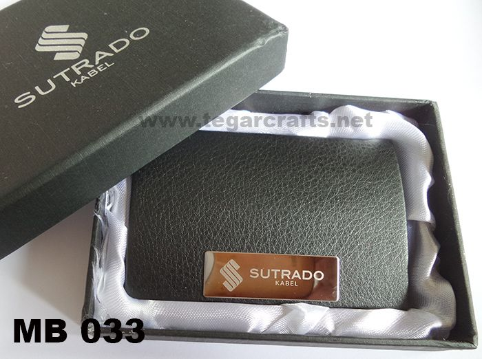 Make a great first impression and keep your business cards in perfect condition with this stylish business card holder. As shown beside, name card holder code MB033 ordered by PT Sutrado Kabel, Bogor Jawa Barat.
