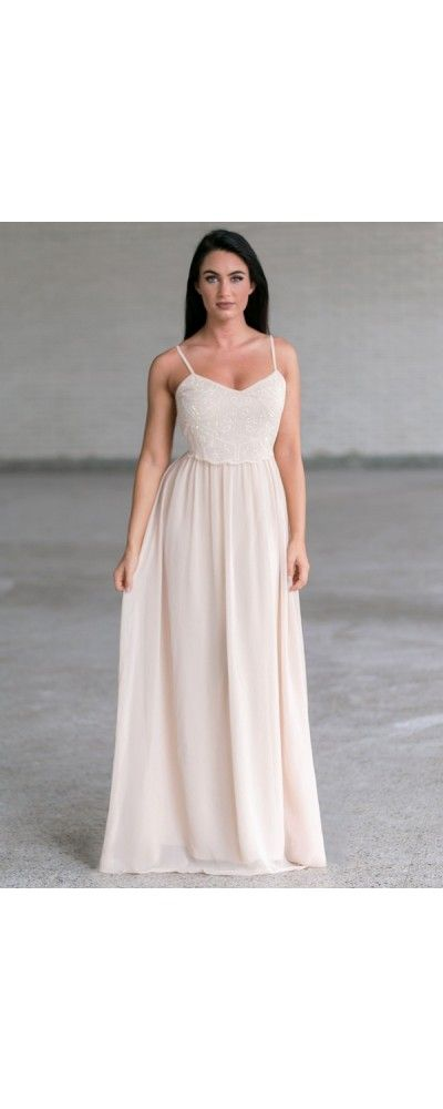 Lily Boutique Pearl of Wisdom Embellished Chiffon Maxi Dress in Cream/Beige, $44…