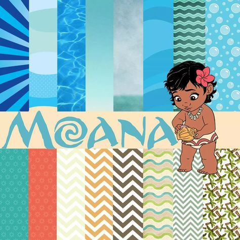 kit digital moana, festa Moana. Digital Paper clip arte
