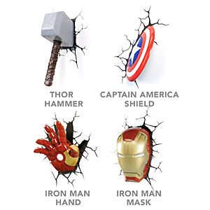 3D Deco Superhero Wall Lights | ThinkGeek JD likes the Iron man mask. Would be cool to have all of them at some point.