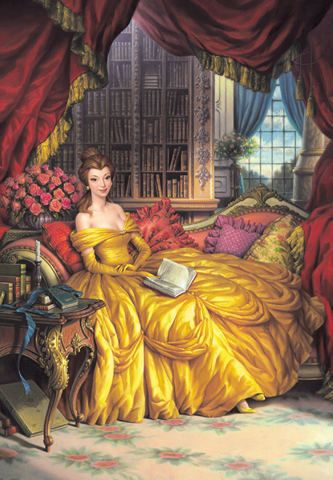 Belle in the library. Yes, yes... This is how I wish my life was actually like.