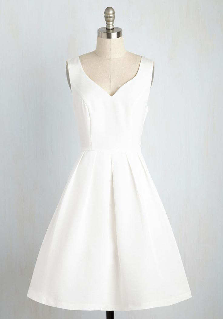 You'll fall deeper in love with this white A-line dress from the moment the music begins. Part of our ModCloth namesake label, this mid-length gown - featuring a sweetheart neckline, a V-back with powder blue buttons, pockets, and a pleated skirt - imbues every step of your slow dance with admiration.