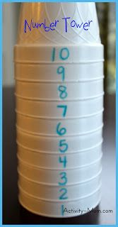 Great idea ... doesn't take as much room up as a number line ... i will use this at a grouptime..... children working in pairs to make the tower... then one closes eyes.. other child takes one away... what's missing..... swap 2 over ... can you put it back in order? Make a tower of just even, just odd.... introduce the teens....,,etc! LH