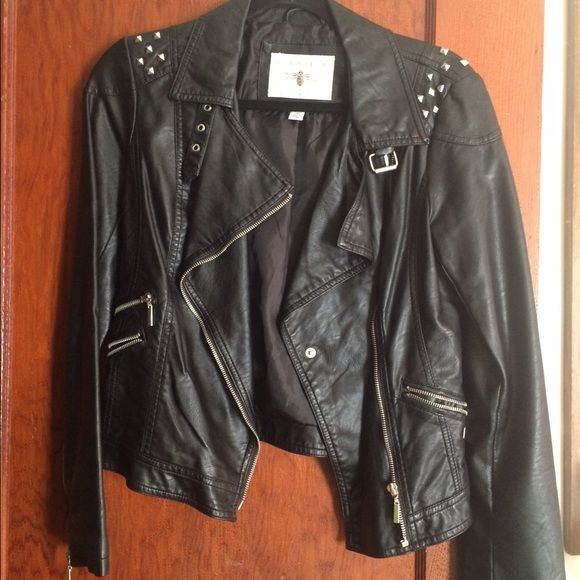 Leather jacket for sale, gently used! Studded, black leather jacket in excellent condition! jcpenney Jackets & Coats