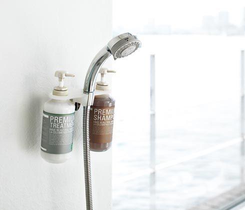 シャワーホルダーにシャンプーボトルが整理できる便利グッズ【LUXS ディスペンサーホルダー】|インテリアハック
