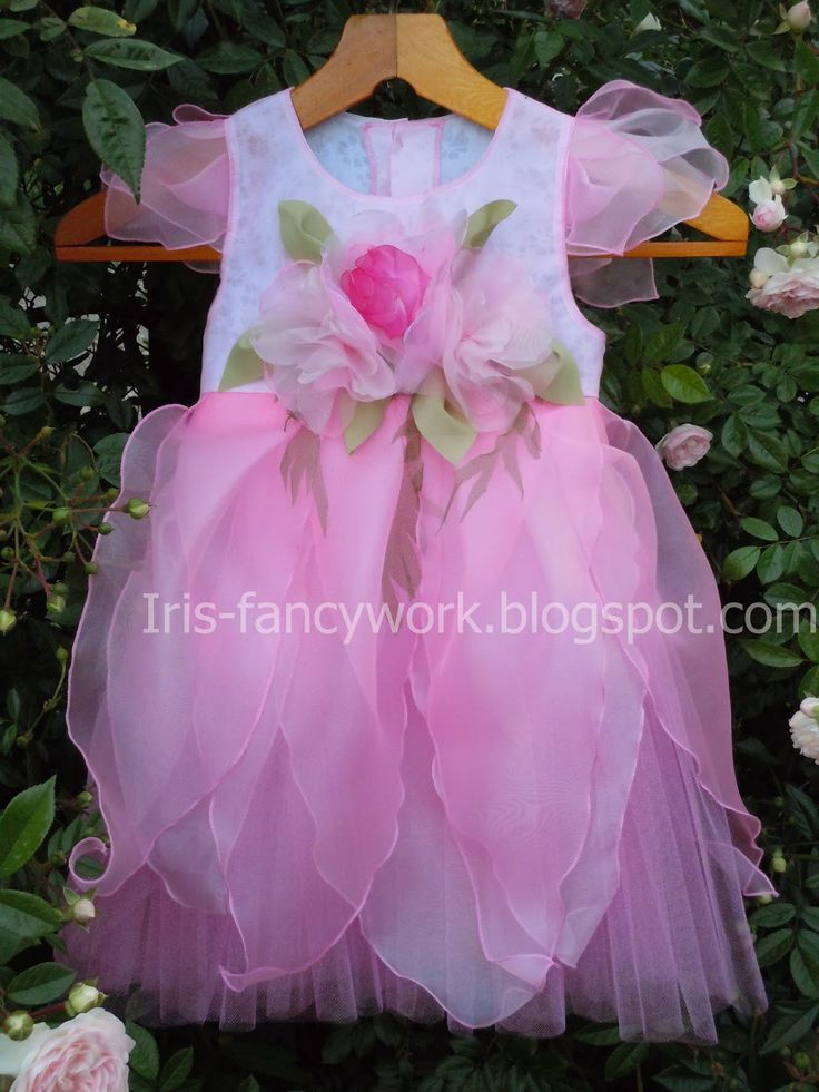"""My Fancywork Blog: Детский праздничный комплект """"Цветочная фея"""" – нарядное платье из органзы и тюля, цветочный венок-ободок и браслет с бутоньеркой. Мастер класс."""