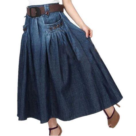 El envío Libre 2017 Nueva Moda de Verano de Mezclilla Todo-Fósforo Ocasional Flojo Falda de los pantalones vaqueros de Cintura Elástica Faldas Largas Para Las Mujeres Con La Correa SL