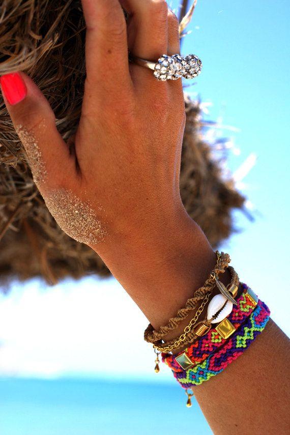 Neon Tribal Bracelet Friendship Bracelet by makunaima on Etsy, $11.90