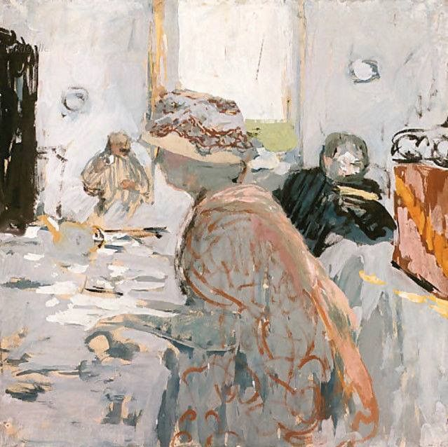 Madame Hessel . A Lady in a Hat with a Ribbon - Edouard Vuillard , 1900 Gouache on paper on canvas