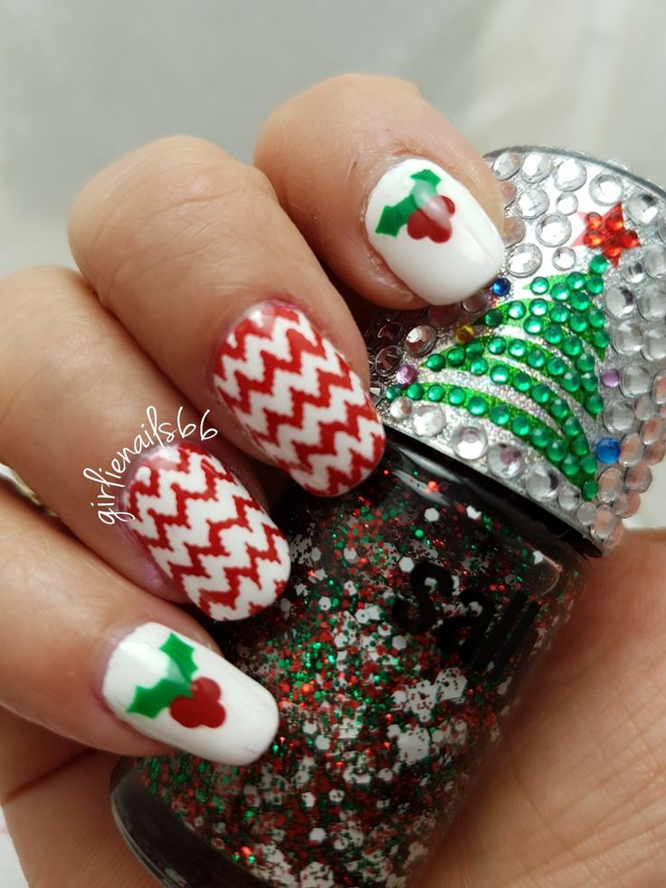 Christmas nails  Holly and zig zags