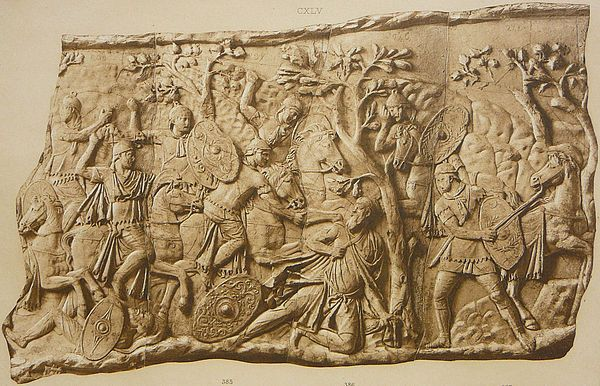 Cast (Cichorius 106) of panel on Trajan's Column, showing the cornering and suicide of Decebalus AD 106. Note the trampled Dacian pileatus (left foreground) and the falx held by Decebalus to his own throat (centre foreground)