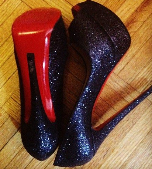 Black sequined Louboutins