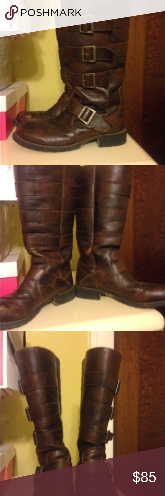 Durango brown leather boots sz 8 Durango Brown leather strap purse boots quality and detail non slip skid soles great winter boots in great condition sz 8 Durango Shoes Winter & Rain Boots