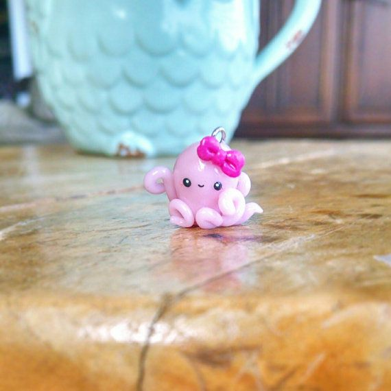 Kawaii Pink Octopus Charm - Polymer Clay Charm, Polymer Clay Jewelry, Charm, Jewelry, Animal, Sea Creature, Cute, Pendant, Miniature