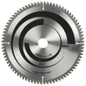 #Bosch 80T Circular Saw Blade (Dia)254mm #Bosch 80T Circular Saw Blade (Dia)254mm.This 254mm circular saw blade from Bosch is ideal for use on non-ferrous metals and plastic and is compatible with Bosch circular saws. (Barcode EAN=3165140317481)