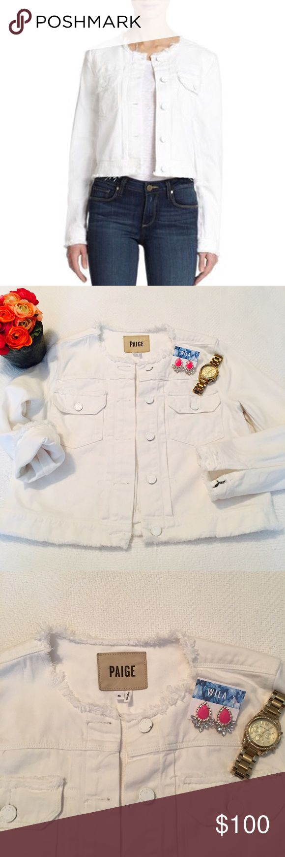 PAIGE Shannon Jacket Trendy White Jean Jacket in Great Condition, just see pics for wear on sleeve buttons. Paige Jeans Jackets & Coats