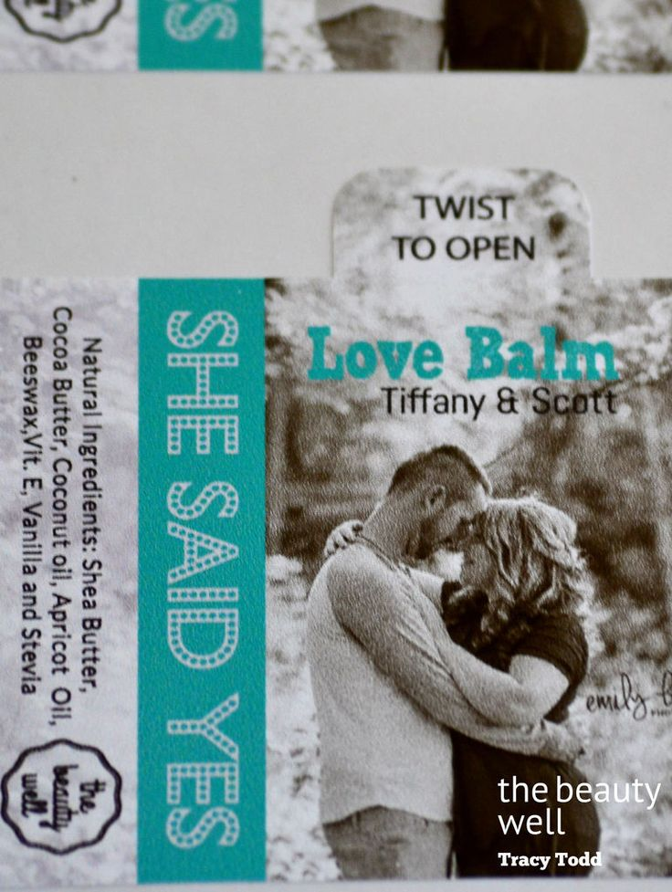 the beauty well Customized Love Balm, She said Yes Wedding Engagement Party Favors. All natural ingredient Vanilla Lip Balm. Tracy Todd #thebeautywell https://www.facebook.com/thebeautywellTracyTodd/