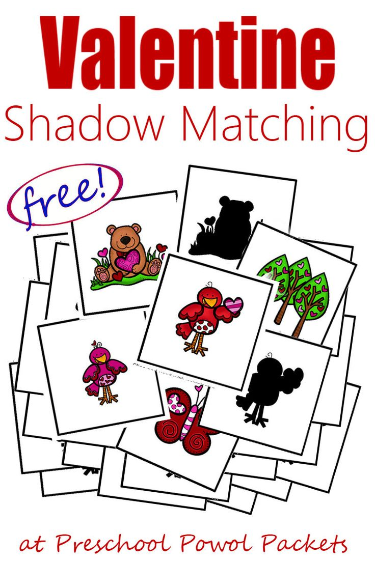 Adorable {FREE} Valentines preschool printables!! These shadow matching cards can help develop loads of preschool skills while your kiddos just play games with them! They're fun for older kids (in kindergarten and elementary school) too!