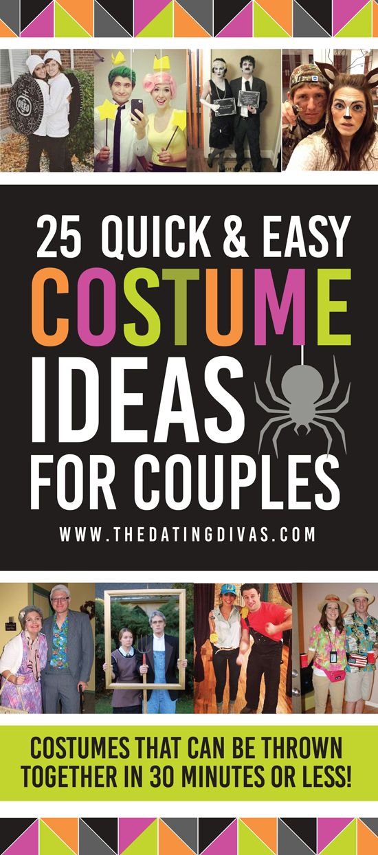 25 quick and easy Halloween costume ideas for couples that can be thrown together in 30 minutes or less! www.TheDatingDivas.com