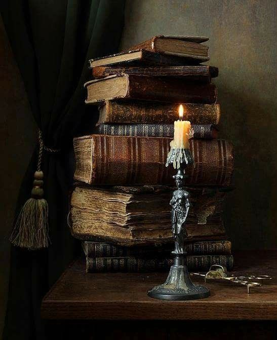 Candle & Stack of Books Art