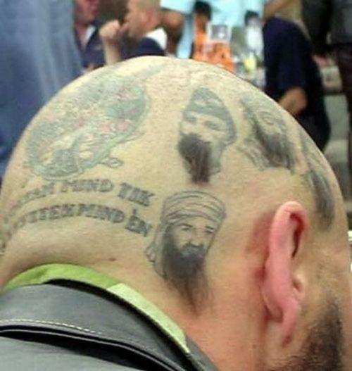 bad tattoos bin laden on head