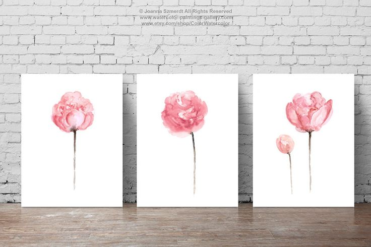 Peony Watercolor Painting Shabby Chic Home Decor, Abstract Flowers Art Print Light Pink Baby Girl Floral Nursery Room Set 3, Flower Wall Art by ColorWatercolor on Etsy