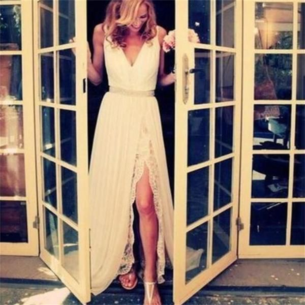 Great White Long Lace Elegant Free Custom Handmade Prom Dresses Cheap Wedding Dresses PD