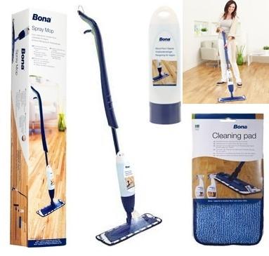 Bona Spray Mop - met reinigingspad + Reiniger    2 versies: Bona Spray Mop voor houten vloeren / Bona Spray Mop voor laminaatvloeren    SIMPEL SPRAYEN EN WISSEN.    De nieuwe Spray Mop van Bona stelt u in staat om uw houten vloer of harde vloer in een handomdraai te reinigen en te onderhouden. Ergonomisch en eenvoudig te gebruiken, de Spray Mop is snel te monteren en de speciaal ontwikkelde cartridge kan snel worden nagevuld met Bona Houten Vloer Reiniger of Bona Tegel- en Laminaat Reiniger.