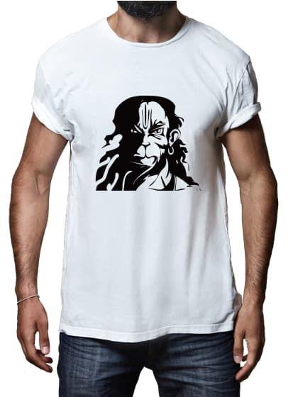 019e87b37 Hanuman Ji Face White T-Shirt