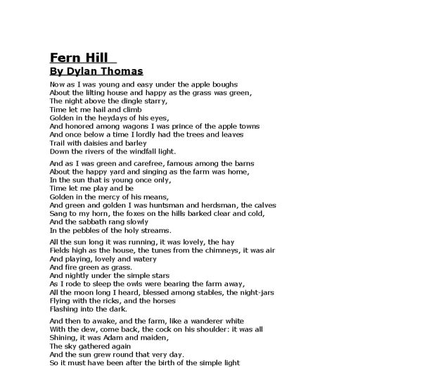 25+ best ideas about Fern hill poem on Pinterest | Dylan thomas ...