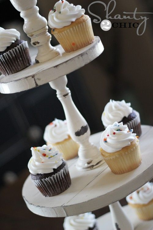 Fancy Fakeout: DIY Cupcake Tower Stand - http://www.inspiredbride.net/page/2/#