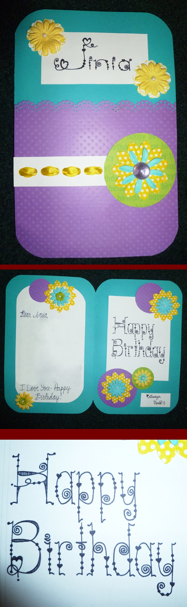 This is one of the simplest cards I've made but I like how bright and fun it is. handmade ribbon flower Birthday card ideas